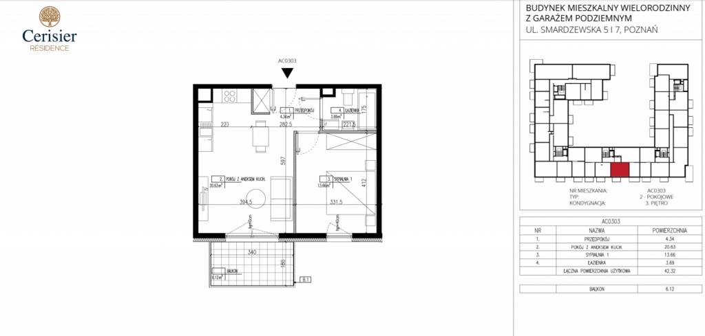 cztery pokoje na sprzedaż AC0303 1024x489 - Inwestycja Cerisier Residence - Poznań, Grunwald, ul. Smardzewska