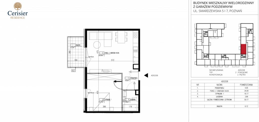 kawalerka na sprzedaż AD0208 1024x484 - Inwestycja Cerisier Residence - Poznań, Grunwald, ul. Smardzewska