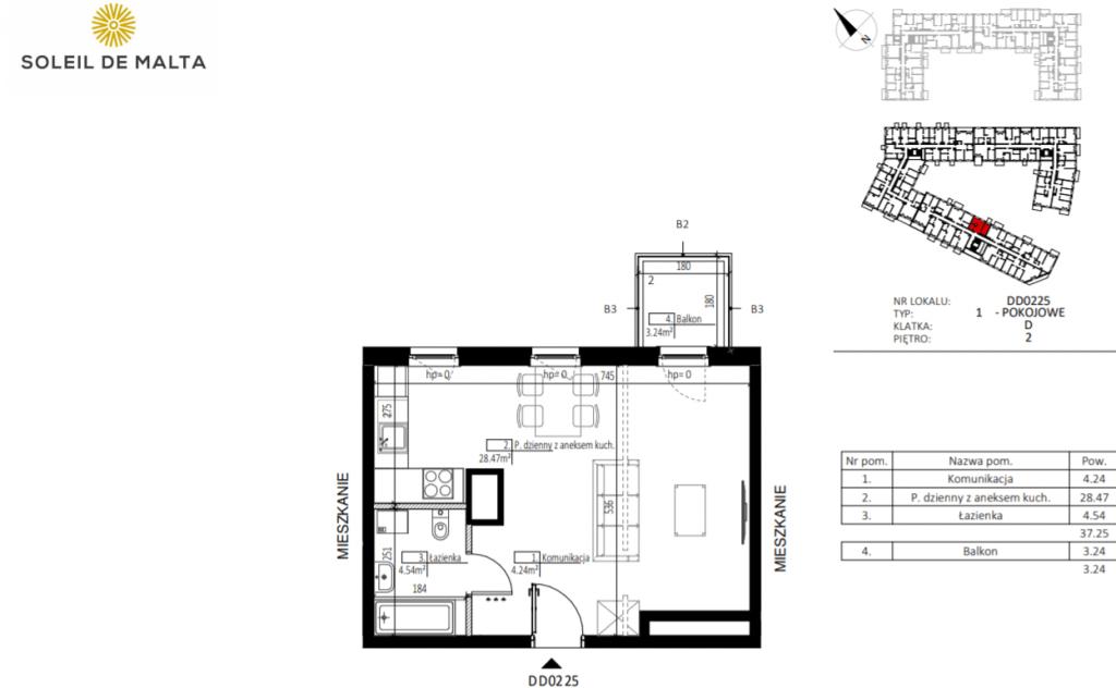 kawalerka poznań z balkonem 1024x632 - Inwestycja Soleil de Malta - Poznań, Nowe Miasto, ul. Milczańska