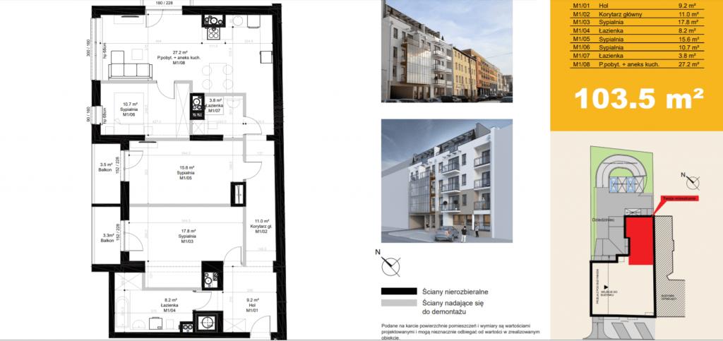 mieszkanie na sprzedaż M1 1024x483 - Inwestycja Sielska 14 - Poznań, Górczyn, ul. Sielska