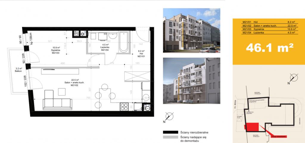 mieszkanie na sprzedaż M21 1024x482 - Inwestycja Bosa 7 - Poznań, Górczyn, ul. Bosa