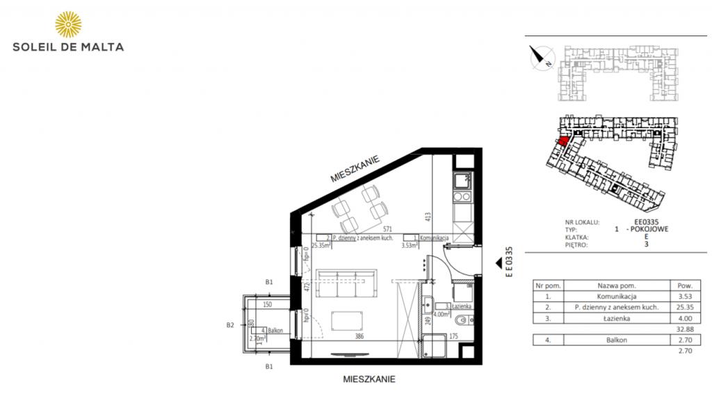 trzy pokoje poznań 1024x589 - Inwestycja Soleil de Malta - Poznań, Nowe Miasto, ul. Milczańska